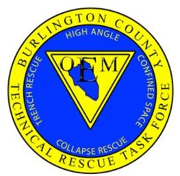 Blue and yellow logo of the Burlington County Technical Rescue Task Force