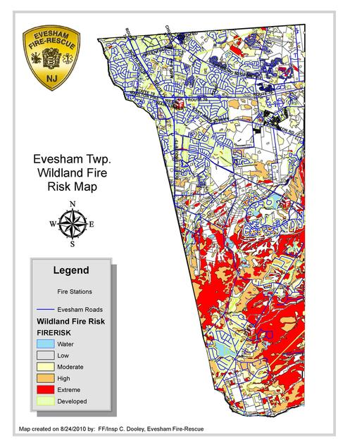 Map image depicting the various Wildland Fire Risks in Evesham Township such as Water, Low, Medium, High, Extreme, Developed